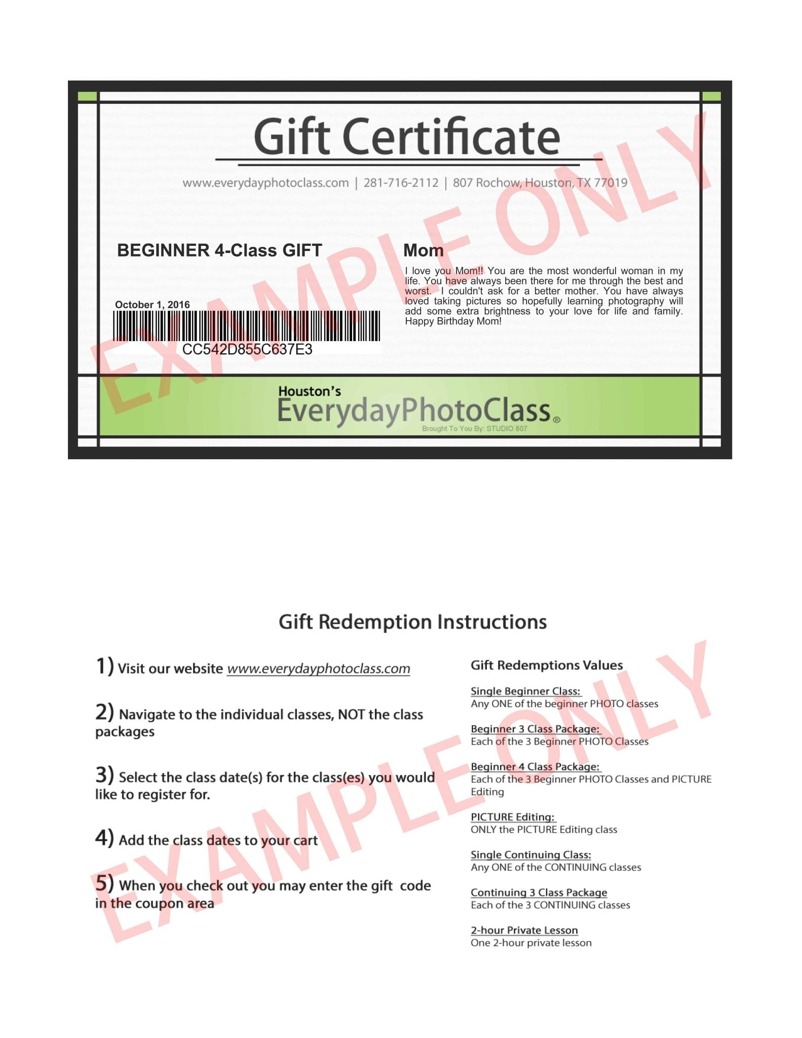 houston photography classes gift certificates everydayphotoclass gift certificate example